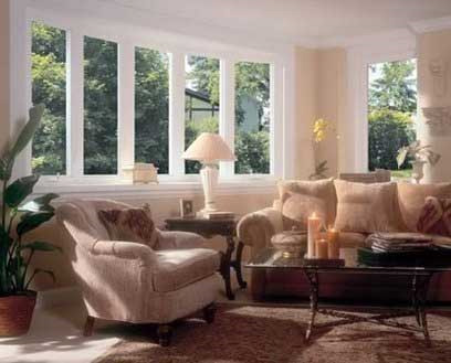 Soft lite bow and bay windows in Appleton living room