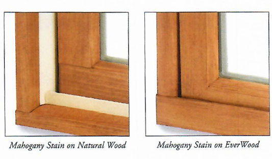 Mahogany stains on Natural Wood and EverWood Windows